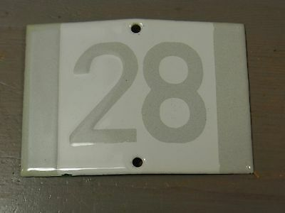 YH9 * Rare Porcelain Enameled House Number Sign 28 * Antique German 1930's