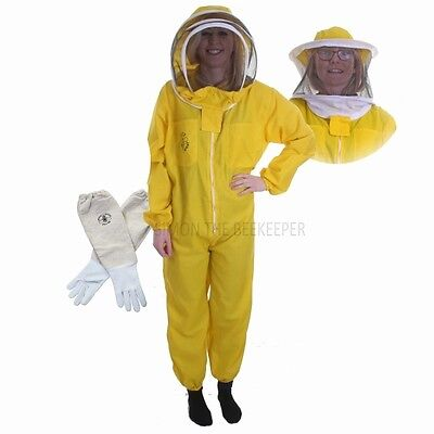 Beekeeping Yellow Bee Suit with Veil Duo & Gloves- Buzz Basic - Choose Your Size