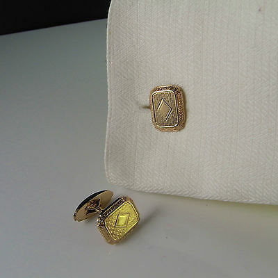 Art Deco Cuff Links Men's Gold Cufflinks Vintage Antique Groom Wedding Engraved