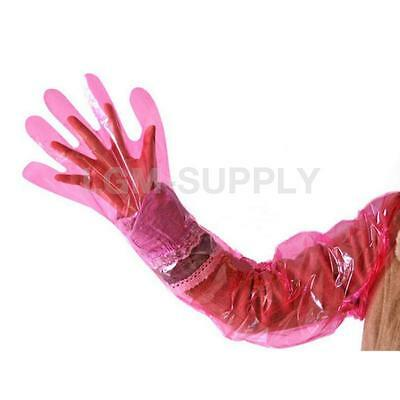 50 Pink Disposable Veterinary Insemination Rectal Gloves Long Full Arm