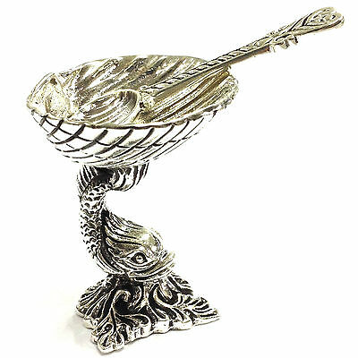 Quality Victorian Style 925 Sterling Silver Dolphin Salt Pepper Condiment Dish