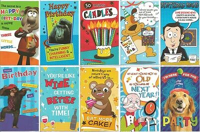 Pack of 10 Humerous Joke Funny Birthday Cards JHB001