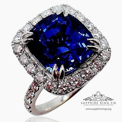 GIA Platinum 10.17 ct Blue Cushion Cut Ceylon Natural Sapphire & Diamond Ring