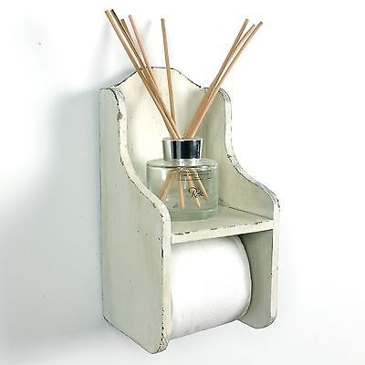 Wooden toilet roll holder loo shabby vintage bathroom dispenser blue cream retro
