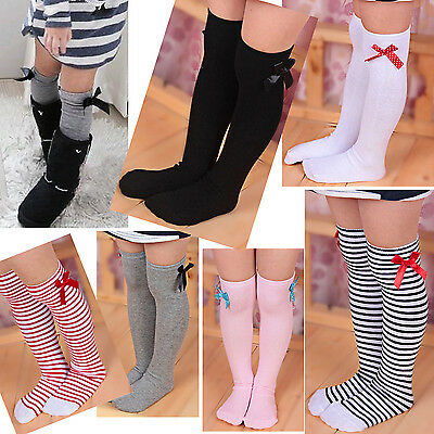H Baby Girl Toddler Kids Knee High Length Cotton Socks Bow Lace Frill 1-8 Years