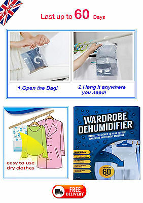 Hanging Interior Wardrobe DEHUMIDIFIER Clothes Damp Mould STOP Moisture Tape Bag