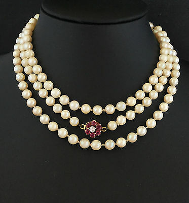 """Cultured Saltwater Akoya 5.5mm Pearl necklace on 18ct Ruby & Diamond clasp - 40"""""""