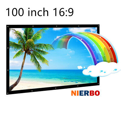 100 Inches Projector Screens Portable Folding 3D Home Theater Curtain Fabric HD