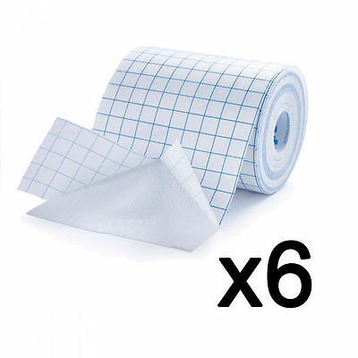 6 x UP Medical Grade White Fabric Dressing Retention Fix Tape Rolls 10cm x 10m