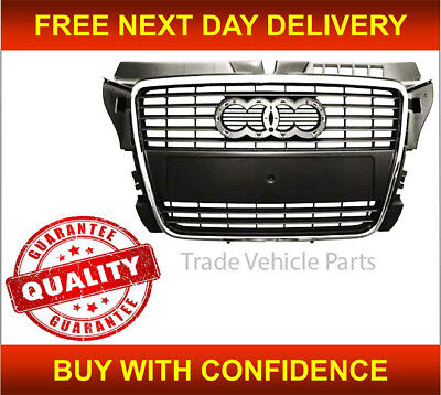 Audi A3 2008-2012 Front Grille Gray With Chrome Moulding Insurance Approved New