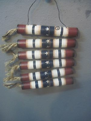 Primitive Patriotic String Of 6 Firecrackers Made Of Wood Wall Hanger