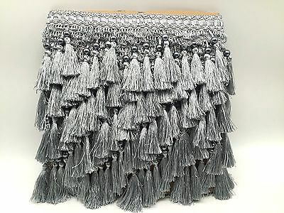 Tassel Trimming Fringe, Silver Colour With Pearl Tassel, Clearnce Price
