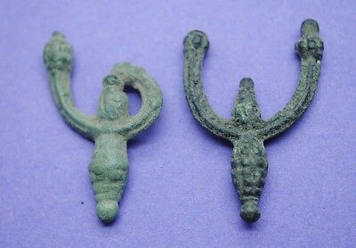 Pair of Medieval bronze decorated European earrings 12th-15th century AD