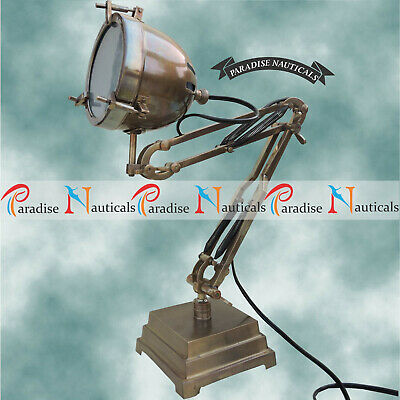 Industrial Nautical Desk Lamp - Machine Age Task Light - Cast Iron - Steampunk