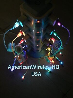 LED Light-Up USB Charger Retractable Cable Apple iPhone5/6/7/8/X Samsung Android