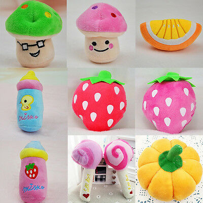 Cute Pet Puppy Cat Dog Squeaker Quack Sound Toy Chew Donut Fruit Play Plush Toys
