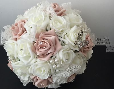 wedding flowers Ivory rose bouquet bride bridesmaid Buttonholes lace girl wand