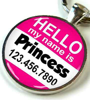 Hello My Name is Round 1 inch Pet ID Tags Personalized custom dog cat