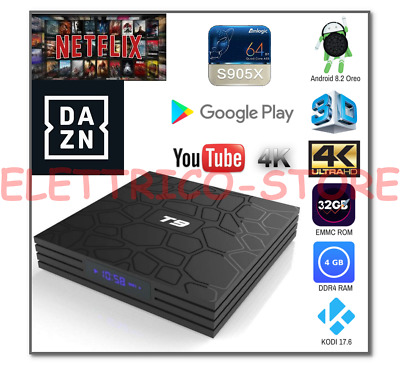 Android Tv Box Smart Tv T9 Pro Android 8.1 Oreo 905X 4Gb Ram 32Gb 4K Wifi Dazn