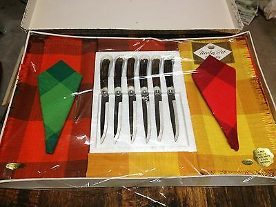 BRT Retro Japan Original As New 1970's 6 Piece Steak Knife Cotton Place Mat Set