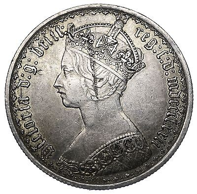 1872 Gothic Florin - Victoria British Silver Coin - V Nice
