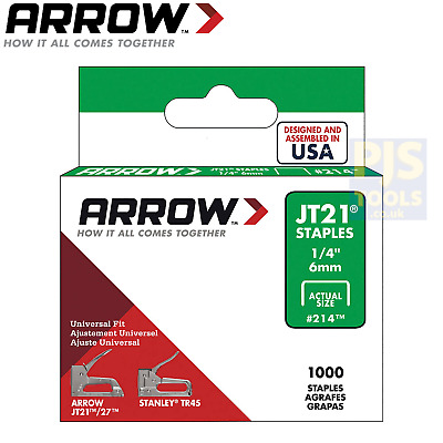 1000 x Arrow staples JT21 T27 6mm 1/4in ARRJT2114S