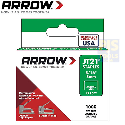 Arrow staples JT21 T27 Box 1000 8mm 5/16in ARRJT21516S
