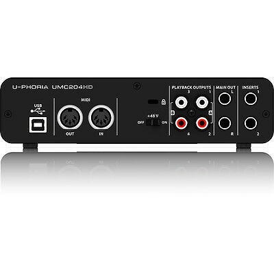 Behringer U-Phoria UMC204HD 2-in 4-out USB 2.0 Audio Interface w/ MIDAS Preamps