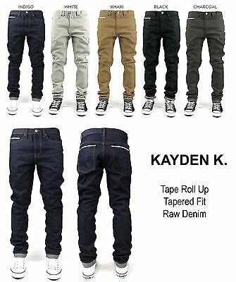 KAYDEN.K JET BLACK Men/'s Skinny Fit Stretch Twill Denim Jeans Pants Size 28-42