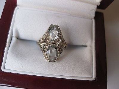 ANTIQUE 14K WHITE GOLD FILIGREE RING with NATUPAL AQUAMARINES,ART DECO,1920's