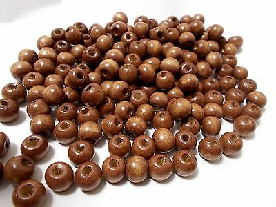140pcs x 10mm WOODEN Round Spacer Wood Beads 50g - BROWN