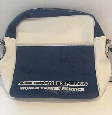 """RARE Vintage American Express Zipper luggage 16x12x5"""" Carry On Tote Bag"""