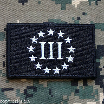 III THREE PERCENTER 3% BLUE LINE 3D U.S Original Current Army Patches ARMY MORALE BADGE EMBROIDERED PATCH ^02