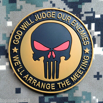 3D Pvc Punisher Skull God Will Judge Our Enemies Army Tactical Rubber Patch Tan