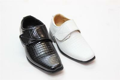 #1013-3 Boys' & Toddlers Black & White FAUX LEATHER Dress Shoes & Formal Shoes