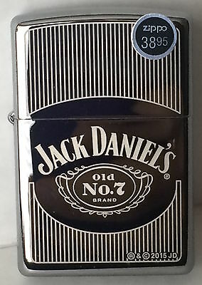 Zippo Polished Chrome Lighter With Jack Daniels Pinstriped Logo 46817 New In Box