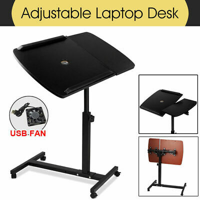 Adjustable Laptop Desk Stand Computer PC iPad Bedside Table USB Cooler Fan Black