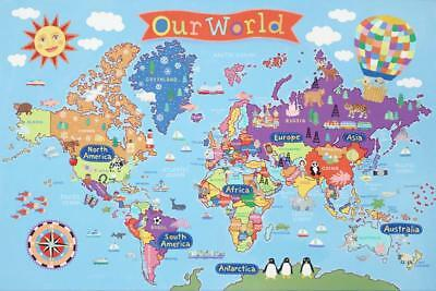Kid's Laminated World Map Laminated Poster 91 X 61cm Wall Decor Art Home New