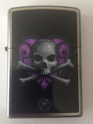 Zippo Windproof Anne Stokes Skull With Heart Lighter 46831, New In Box