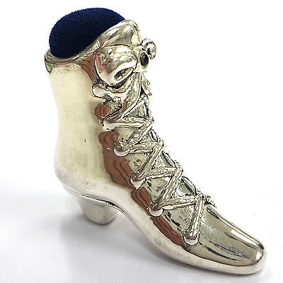 Victorian Style Large Boot Pin Cushion Sapphire 925 Solid Silver Hallmarked