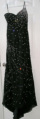 Womens Evening Gown,Formal Wear by Crown Collections,Sheer Black & Rhinestones