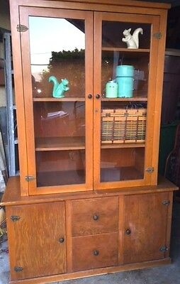 Vintage Wooden Country Hutch Cabinet Cupboard Kitchen Dining Room