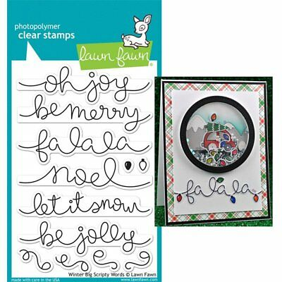 WINTER BIG SCRIPTY WORDS LF1228 - Lawn Fawn Clear PHOTOPOLYMER Stamps Made in US