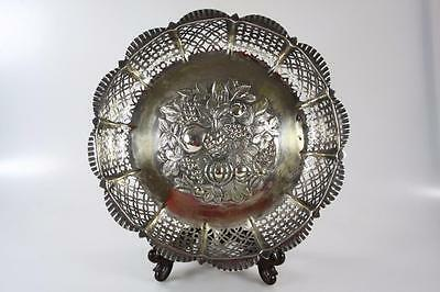 ANTIQUE SILVER PLATED PATTERNED THREE FOOTED FRUIT BASKET marked