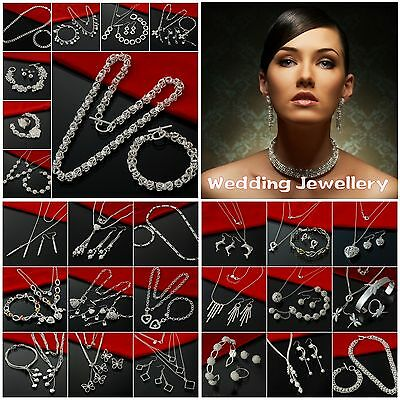 Hot Jewelry 925Solid SILVER Wedding Set Bracelet/Bangle/Ring/Necklace/Earrings