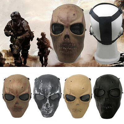 Tactical Airsoft Hunting CS War Game Skull Full Face Mask Safety Protection UKSY