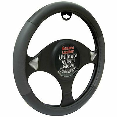 Universal Genuine Leather Steering Wheel Cover Grey & Black Easy To Fit Nonslip