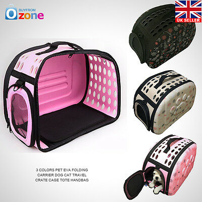 3 Colors Pet EVA Folding Carrier Dog Cat Travel Crate Cage Tote Handbag UK STOCK