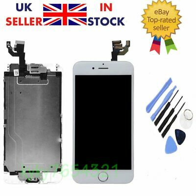 """LCD Touch Screen Digitizer Assembly For iPhone 6"""" White+Camera & Home Button UK"""