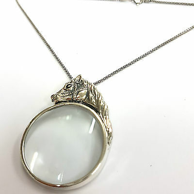 Victorian Style Horse Magnifying Glass Loupe Pendant Sterling Silver Hallmarked